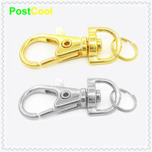 1 Pcs Gold Silver durable Metal CarabinerLobster Clasps Clip With Split ring Style for Key Chain Key Hooks Spring Key Ring(China)