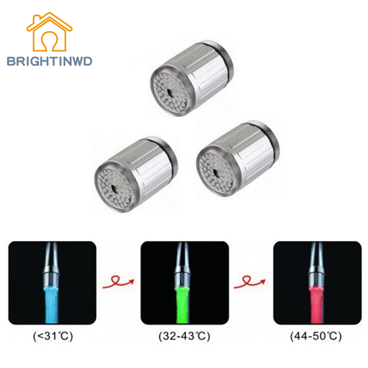 BRIGHTINWD Glow LED Faucet Temperature Sensor Light RGB 3 Color Shower Kitchen Water Tap