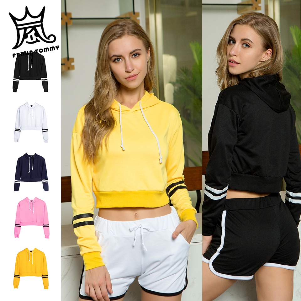 FRDUN TOMMY Women's Kpop Sweatshirt Girls Sudadera Mujer Cropped Hoodies Women Crop Pullover Top Sexy Crop Top Moletom Feminino