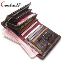 CONTACT'S Men wallet Genuine Leather Wallet Men coin Purse Short Business Credit Card Holder Male Clutch Bag Money Men's walet