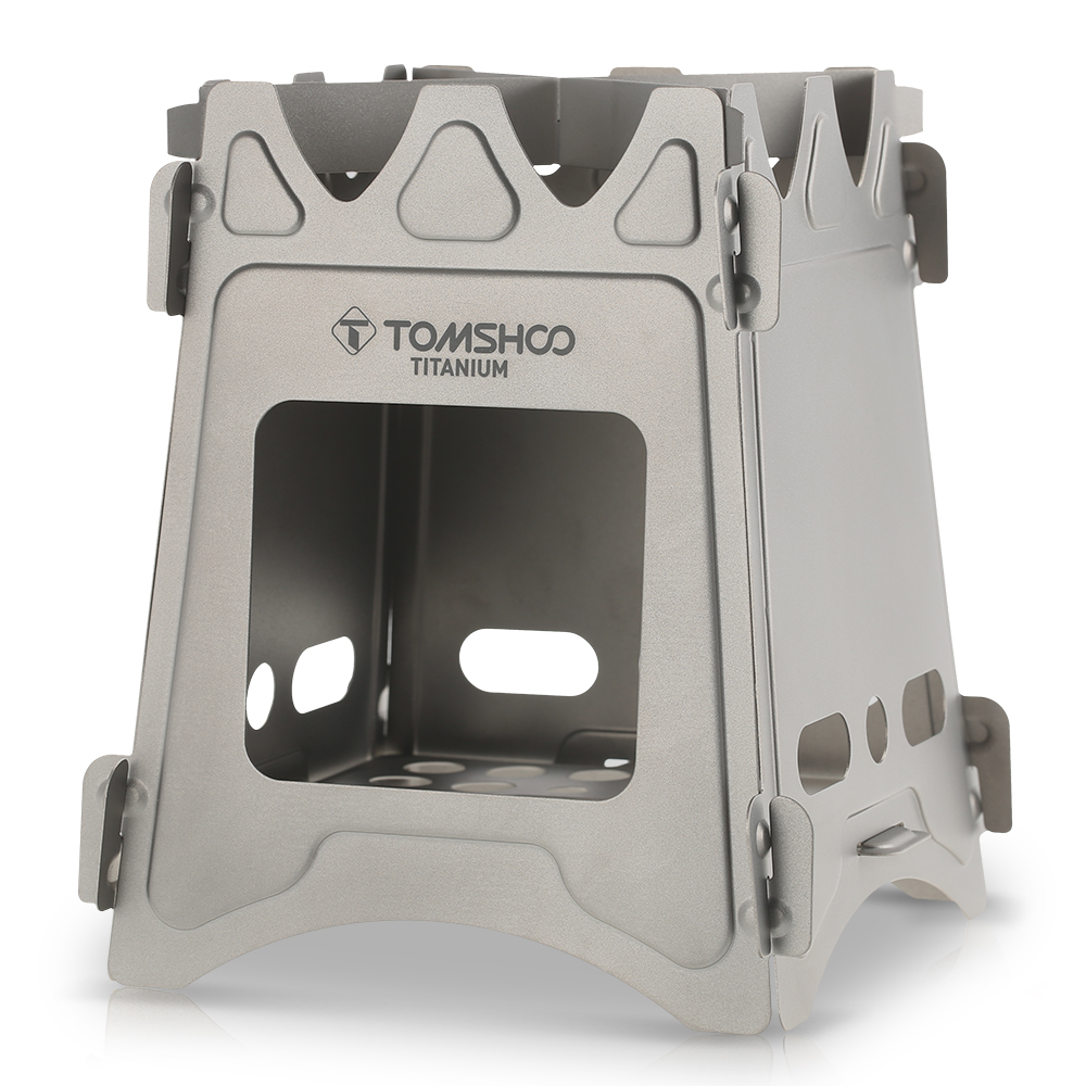 TOMSHOO Portable Outdoor Folding Titanium Wood Stove Camping Wood Stove Burning for Backpacking Survival Cooking Picnic Hunting