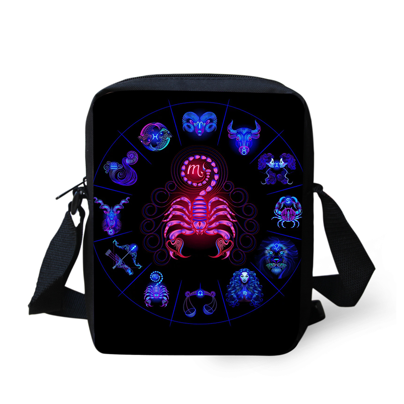 FORUDESIGNS Customized Images Messenger Bags for Boys Girls 12 Constellations Printing Black Crossbody Satchels
