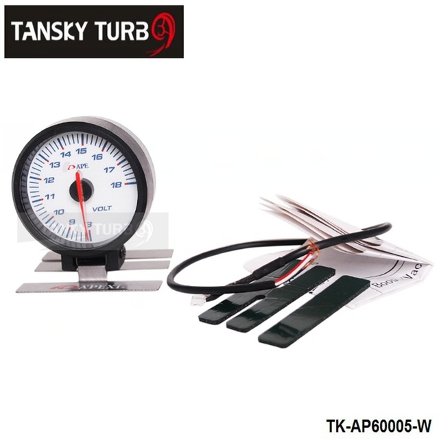 Tansky - AP 60 MM VOLTS de ELECTTRO-LUMINESCENT / voltímetro carro / AUTO VOLT medidor ( branco ) caixa de cor original TK-AP60005-W