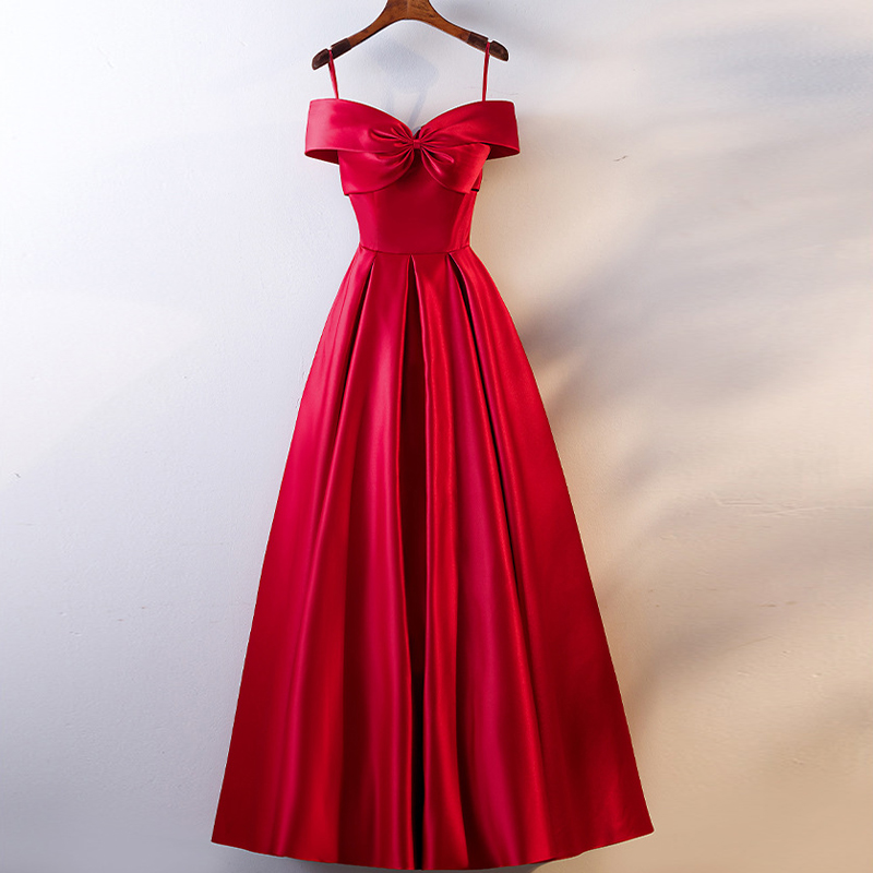Real Photos New Red Slim A Line Evening Dress Off Shoulder Long Formal Dress Elegant Woman Party Dresses Evening Gown