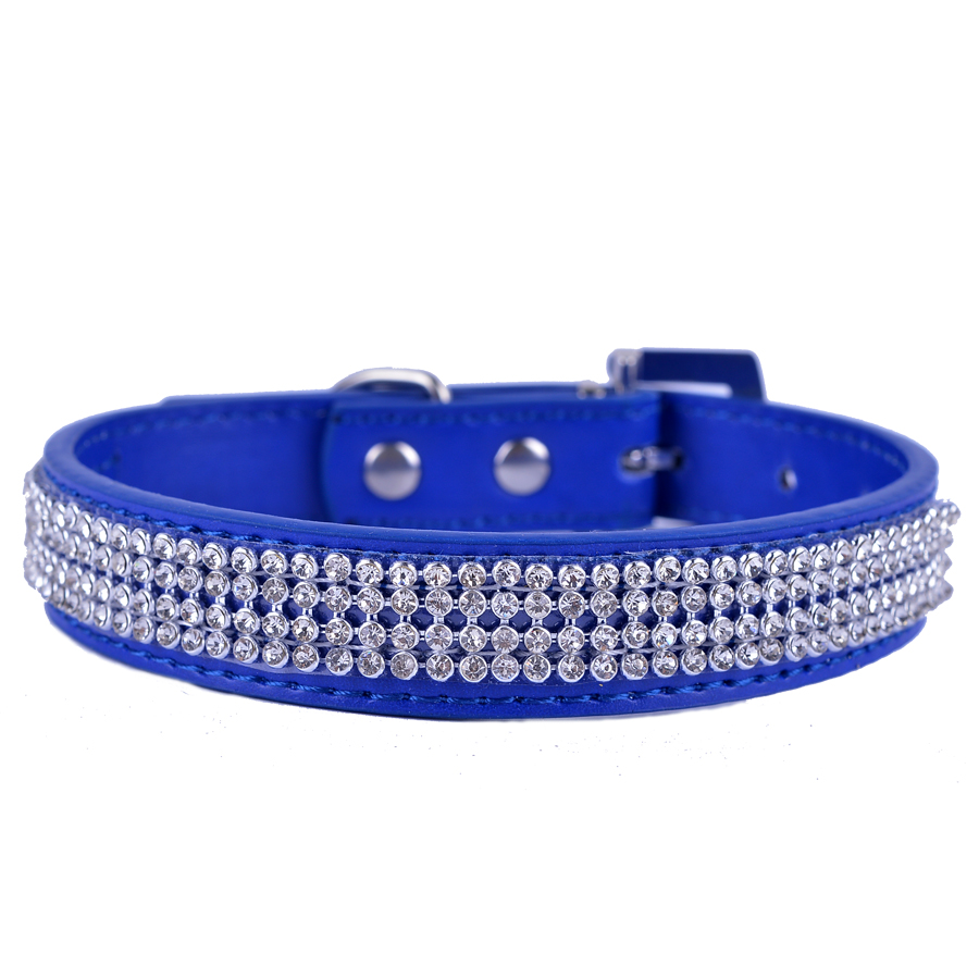 Hot Sale Brand Dog-Collar 10 Colors Pu Leather Collars For Dogs Bling Rhinestones Collar Products For Pets