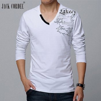 JACK CORDEE Men's T-shirt 2018 Print Long Sleeve T shirt Men Fashion T Shirts Cotton Tshirt Slim Fit Tee Shirt Homme Plus Size