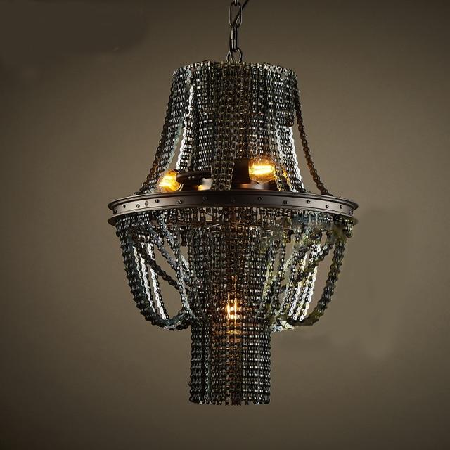 Diseño Creativo isla luces polea de metal cadena lámpara colgante ...
