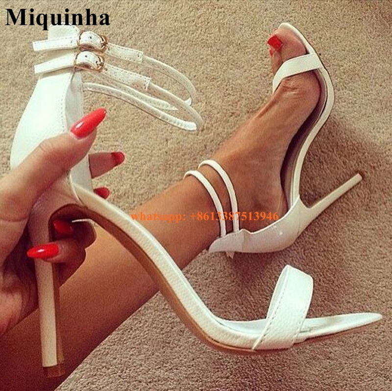 ФОТО Women White One Strap High Heel Sandals Ankle Strap Formal Dress Shoes Ladies Charming Summer Evening Shoes Free Shipping