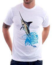 2018 последние смешно Для мужчин экипажа NeckBlue Marlin игры Фишингер белый лодка с изображением рыбы футболка FN9484 Для мужчин Уличная футболка