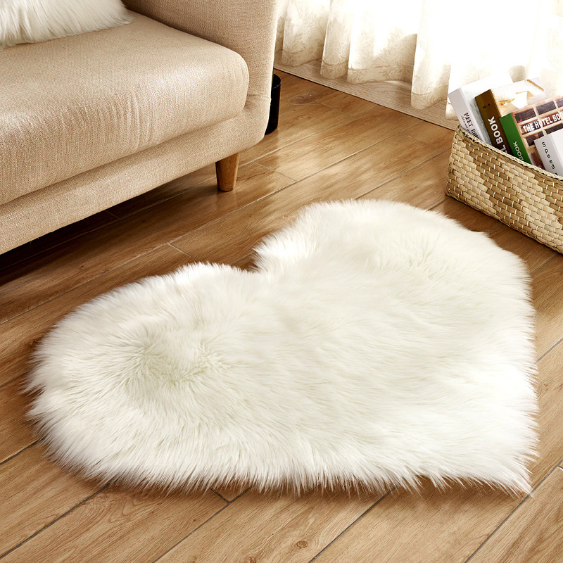 White Pink Love Heart Shaped Plush Fluffy Rug Shaggy