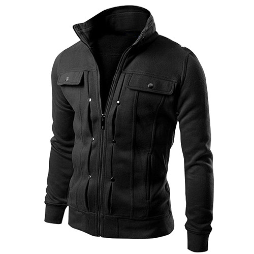 2019 New Arrival Men's Stand Collar Zipper Tracksuit  Casual Jacket Coat For Winter Warm Men Jacket Outwear