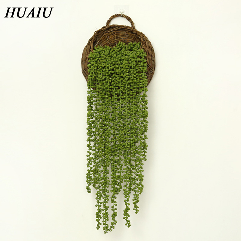 HUAIU Artificial Flower Succulent Rattan Real Touch Cactus Home Decoration Wall-mounted Green Plant Simulation Flower Vine