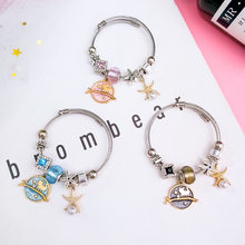 Summer Chic Colorful Starfish Planet Pendant Beads Bracelets Charm Stainless Steel Chain Bracelet Wholesale(China)