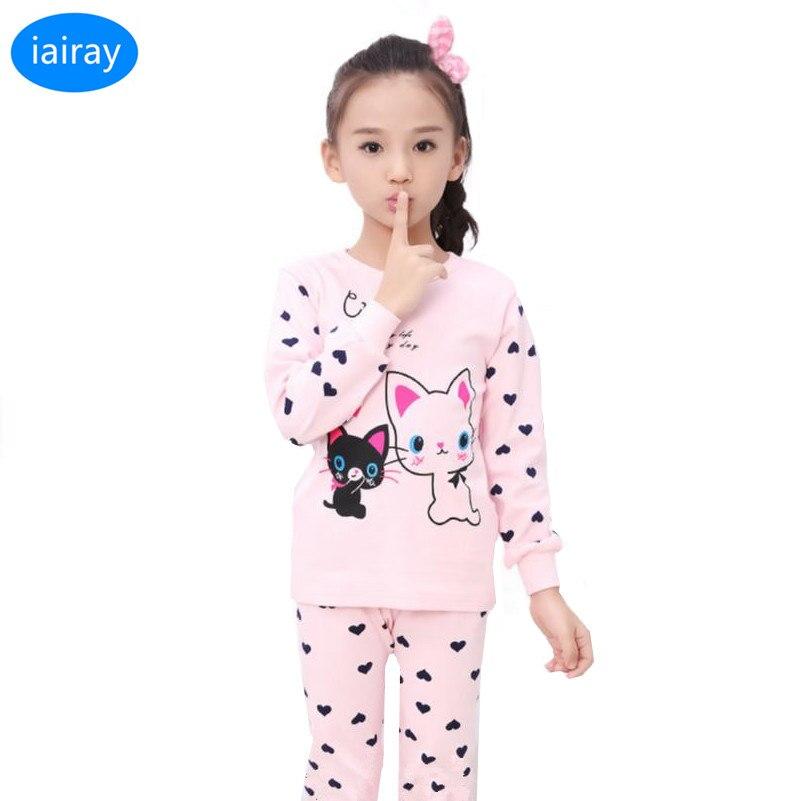 Iairay/весна 2018 детские пижамы детское нижнее белье комплект розовый хлопок футболка для девочек рубашка с длинным рукавом для мальчиков пижа...