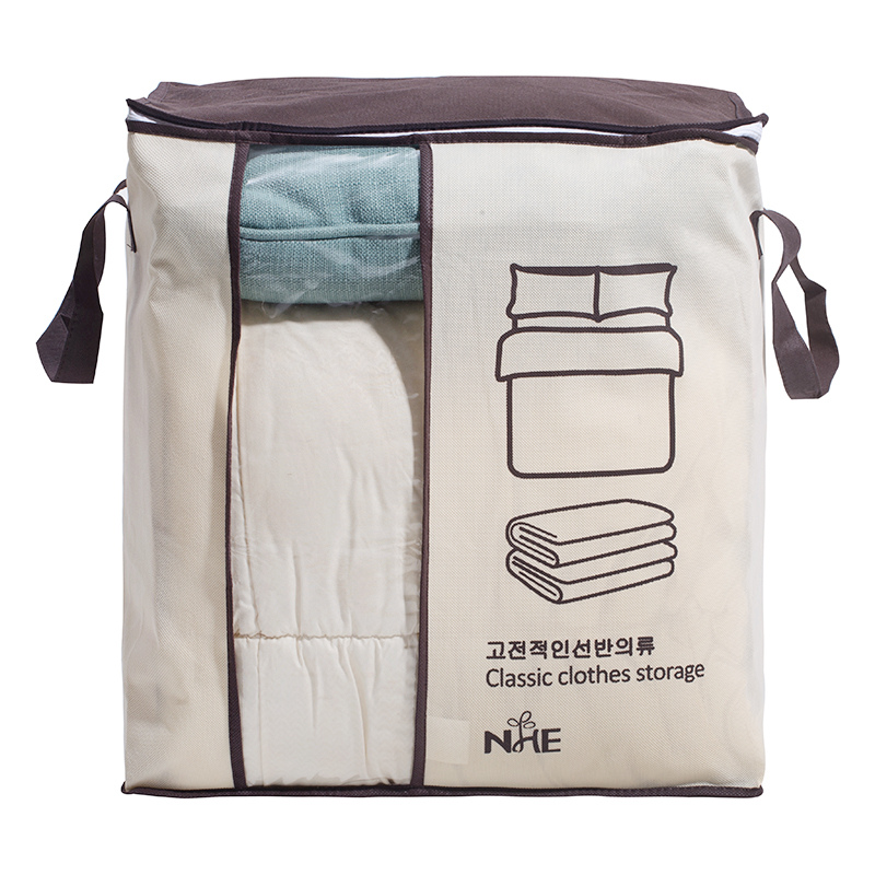 Non Woven Clothes Storage Box with Zipper and Large Capacity Used as Quilt Bag