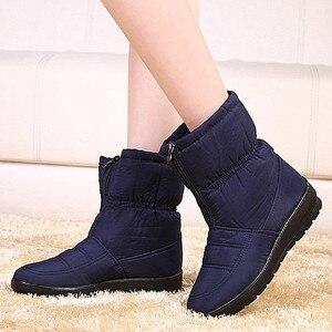Image 4 - Winter Frauen Stiefel Weibliche Wasserdichte Stiefeletten Unten Warme Schnee Stiefel Damen Schuhe Frau Zipper Pelz Einlegesohle Kostenloser Botas Mujer