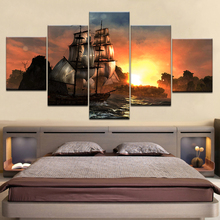 HD Prints Pictures Modular Canvas Wall Art Frame 5 Pieces Sunset Sailboat Seascape Paintings Home Decor Boat Sailing Posters sailing boat seascape waterproof wall tapestry