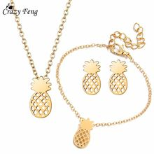 af46afb5ff2a Loco Feng moda Bijoux Color dorado collar pendientes pulsera Linda piña  joyería conjunto Boda nupcial joyería conjuntos