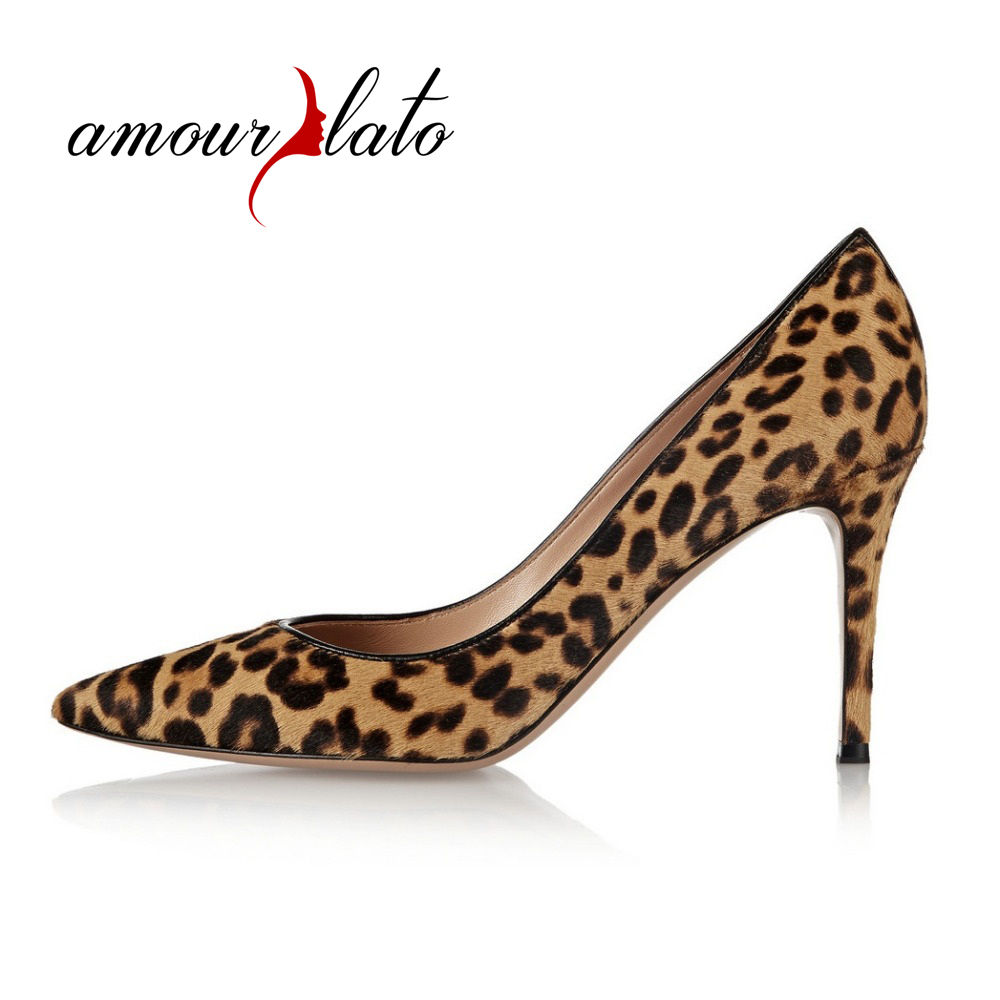 Amourplato Women's Animal Print Pumps Pointed Toe Sexy Leopard Pattern Party Dress Shoes Real Leather Evening Prom Shoes pop art style leopard print pattern square shape pillowcase