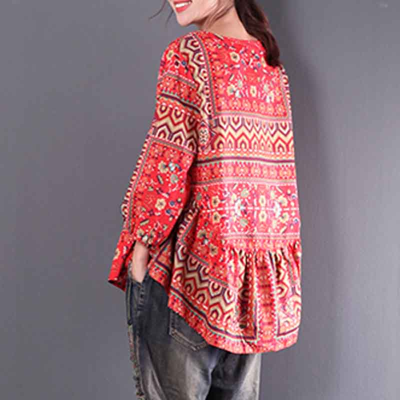 2018 ZANZEA Women Red Blouse Lantern Sleeve Blusas Floral Printed Ethnic Shirt Casual Blusa Femminina Leisure Boho Top Plus Size