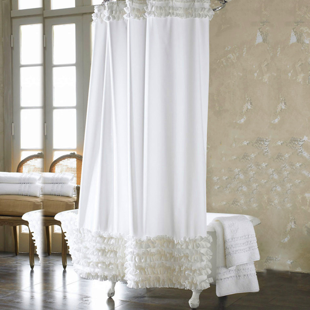Eco friendly 3 Size Ruffles Shower Curtain Liner Water Repellent  Mildew Free Polyester Bathroom Curtain. High Quality Ruffle Curtains Promotion Shop for High Quality