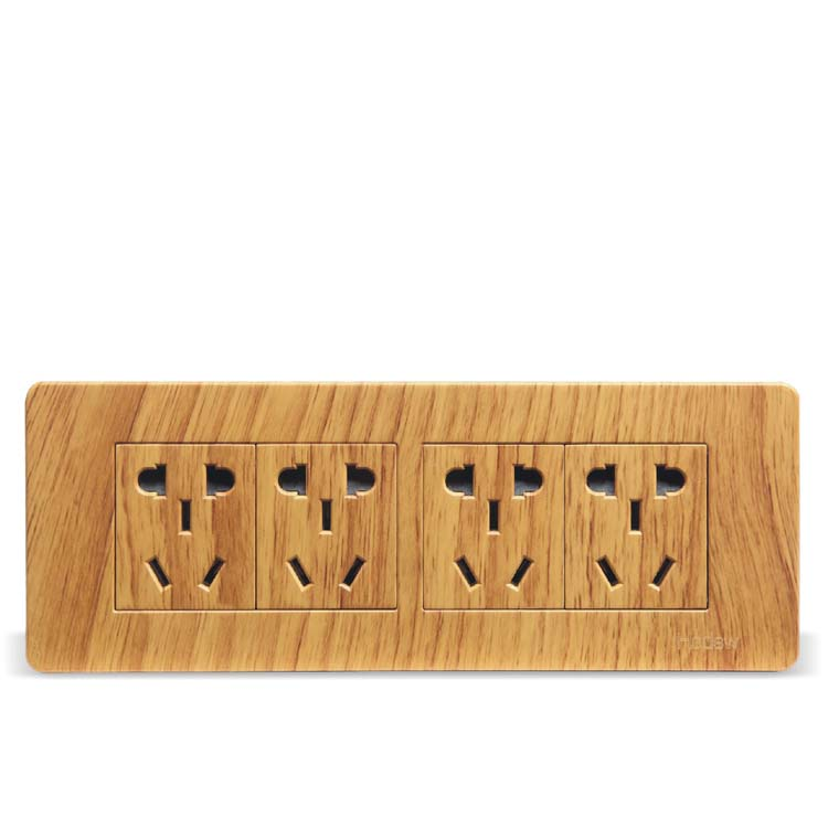 Luxury Yellow Wood Color 118 Type Wall Switch,  20 Hole Socket Panel, AC 110 ~ 250V