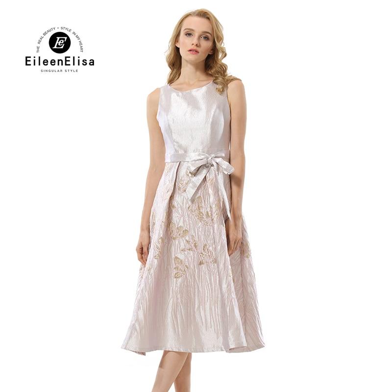 Eileen Elisa Designer Dresses 2017 High Quality Vintage Sleeveless Dress Belt Autumn