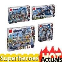 Мстители Endgame legoinglys 76131 76124 76125 76126 Супер Герои 4 набора фигурки marvel строительные блоки игрушки для детей