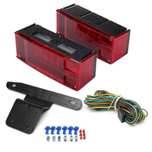 1Pair 12LED Car Side Lamp Red Stop Tail Lights for Universal 12V Truck Trailer Caravan with License Plate Light