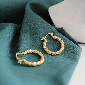 Женские сережки LouLeur, сережки из стерлингового серебра 925 пробы с переплетением, золотые, простой дизайн, элегантный городской стиль, шикарн...