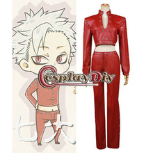 The Seven Deadly Sins Nanatsu no Taizai Ban Fox's Sin of Greed red Leather Outfit Cosplay Costume for Halloween Carnival Party