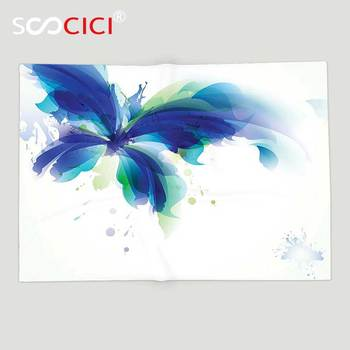 Custom Soft Fleece Throw Blanket Abstract Decor Huge Butterfly Ombre Modern Cool Design with Dots and Leaves Image Blue White