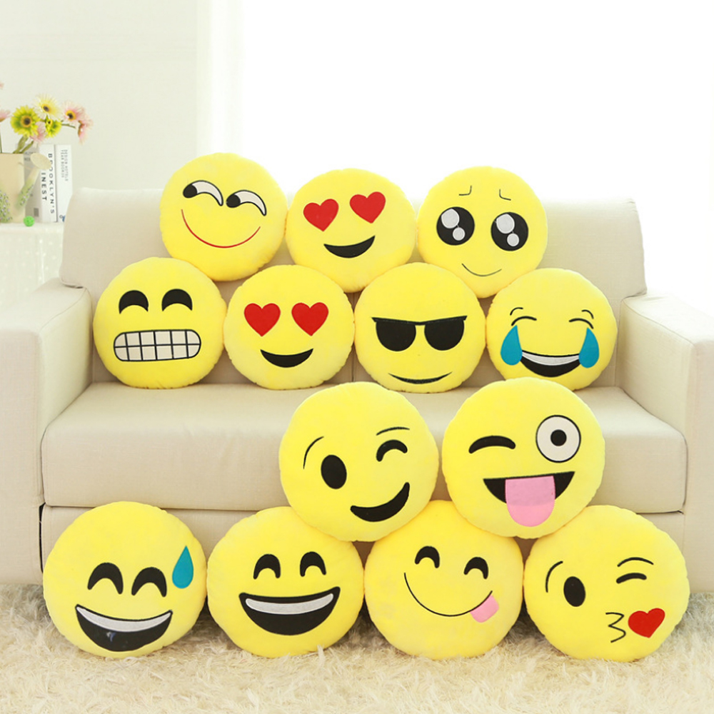 US $8 15 |30cm New Cute Emoji Plush Pillow Smiley Emoticon Sofa Cushion  Doll Stuffed Plush Toys Home Decorative Pillows Gift For Girl-in Cushion  from