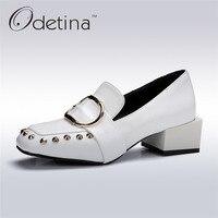 Odetina 2017新しいファッション平方つま先レディース分厚いヒールパンプスバックルスリップオンローファーリベット靴で半ばかかと大きなサイズ32-43