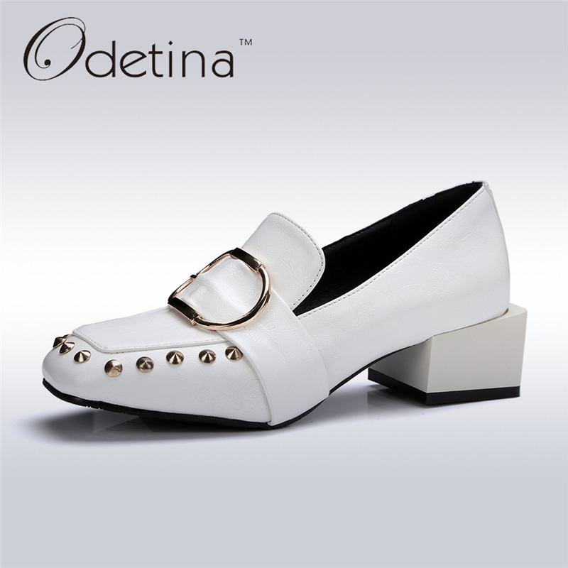 Odetina 2017 New Fashion Square Toe Womens Chunky Heel Pumps Buckle Slip on Loafers Rivets Shoes with Mid Heels Big Size 32-43 odetina fashion women pointed toe rivets loafers 2017 spring