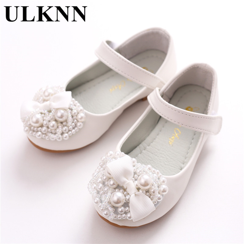 ULKNN 2018 New Children's Shoes Girls Bow Princess Shoes Soft Soled Love Flowers Girls Shoe Kids Single Shoes Flat With White