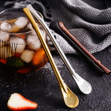 Stainless Steel Straw Spoon Reusable Metal Drinking Straws Stirring Spoon Filtered Teaspoon Coffee Stirrer Cocktail Bar Supply