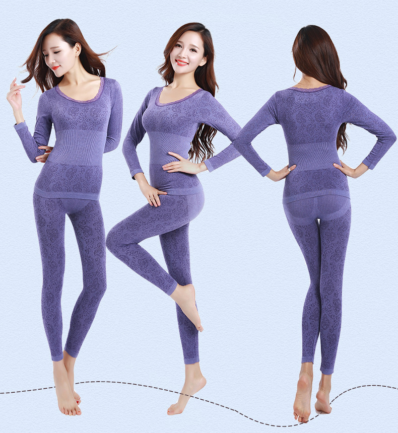 Queenral Sexy Warm Thermal Underwear Women Winter Thermal Underwear Seamless Long Johns Breathable Ladies Slim Underwears Sets  40
