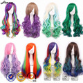 Harajuku Ombre Wig Lolita Pelucas Pelo Curly Natural Synthetic Wigs Heat Resistant Synthetic Hair Halloween Anime Cosplay Wig