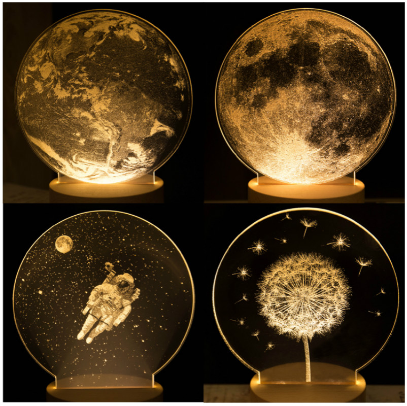 Creative Moon Night Light 3D Moon Lamp Decoration Lamp Bedside Lamp Valentine's Popular Christmas Gift Home Decor Creative Gift magnetic floating levitation 3d print moon lamp led night light 2 color auto change moon light home decor creative birthday gift