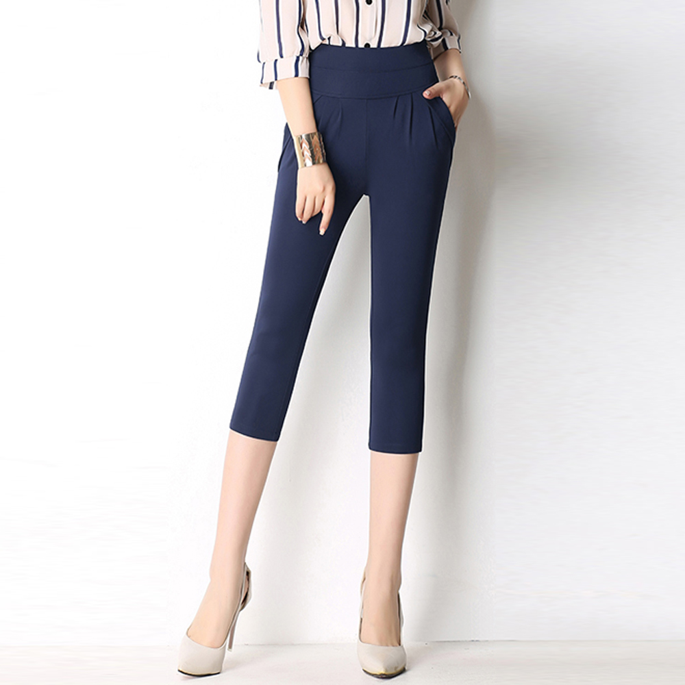 New Classic Vintage Pleated Harem Pants Women High Elastic Waist Cropped Pants Female Large Size Casual Cotton Pants Capris