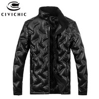 CIVICHIC Men Warm Over Coat Winter Down Jacket Male Wave Daunenjacket Stand Collar Eiderdown Parka Solid Casual Outerwear DC03