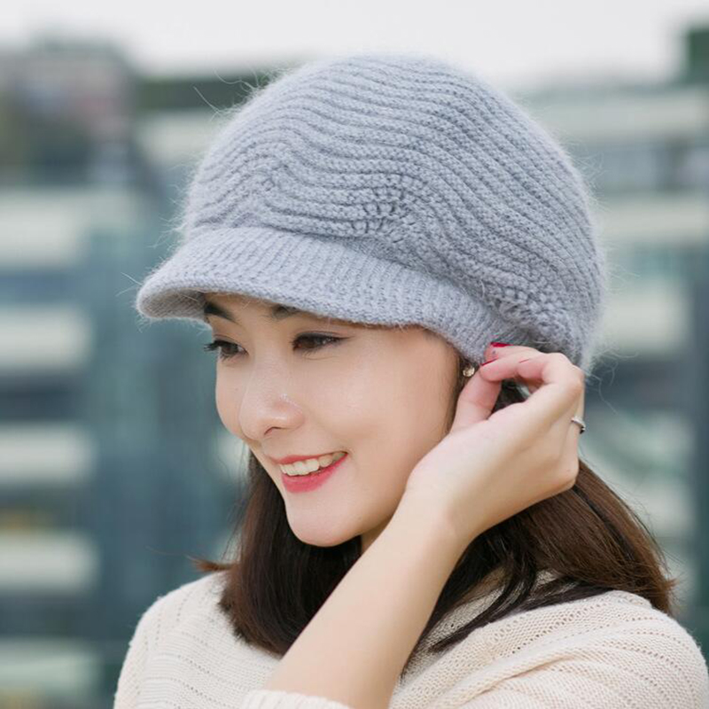 2018 Brand Winter Women Winter Hat Warm Beanies Fleece Inside Knitted Hats For Woman Rabbit Fur Cap Ladies Skullies