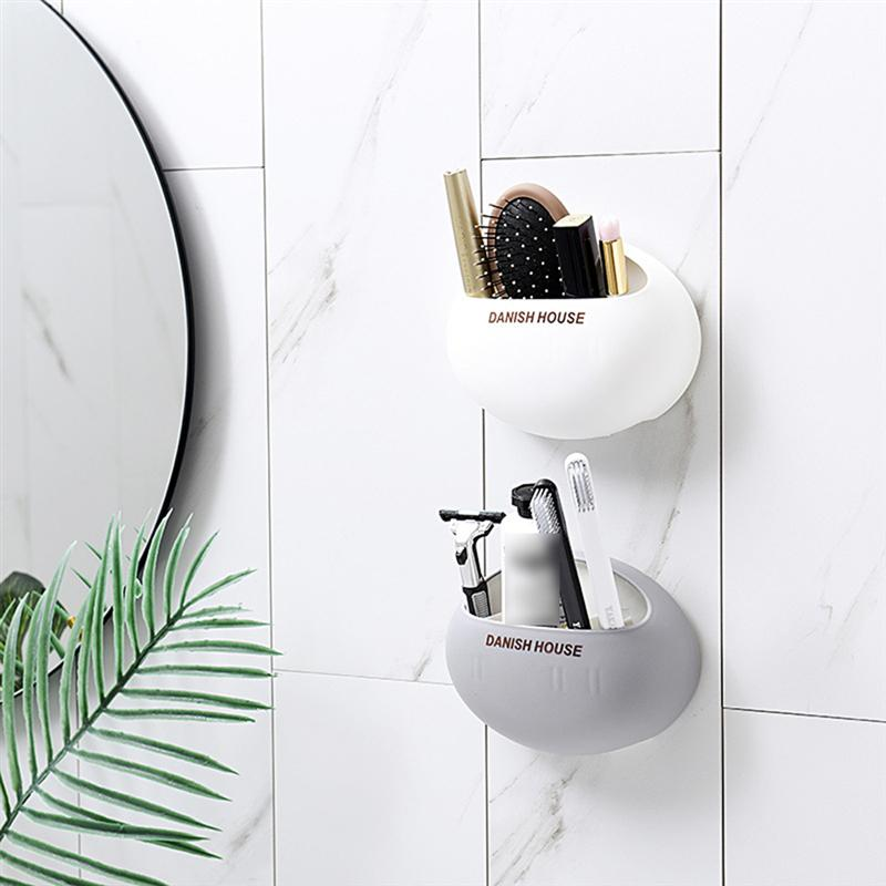 Wall Mounted Stand Suction Cup Toothbrush Holder Toothpaste Storage Rack n