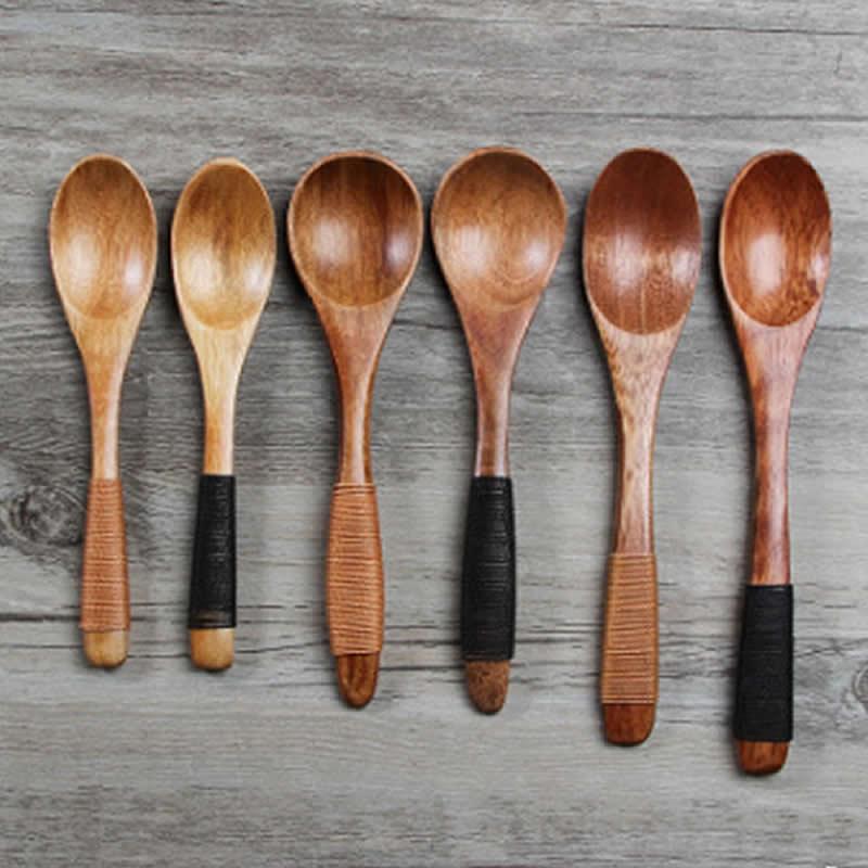 Creative Wooden Spoon Baby Kids Feeding Tool Women Kids Wood Long Spoons Infant Tableware Wrapped Nanmu Wooden Spoon