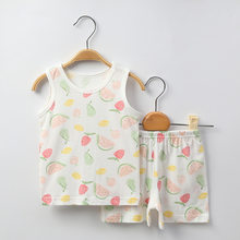 Baby Girls Watermelon Vest Sets Infant Summer Cotton Clothes Sleeveless Children Clothing Set Toddler Boys Playsuit Tops Shorts(China)