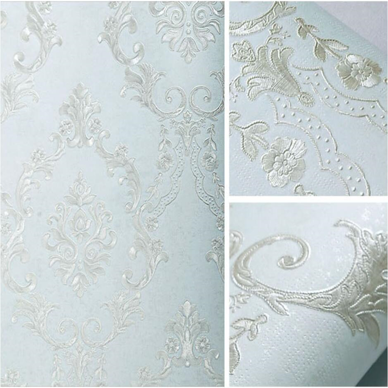beibehang European style high - grade non - woven wallpaper Ma Shi Ge 3D lace embroidery bedroom living room TV wallpaper beibehang embroidery wallpaper european