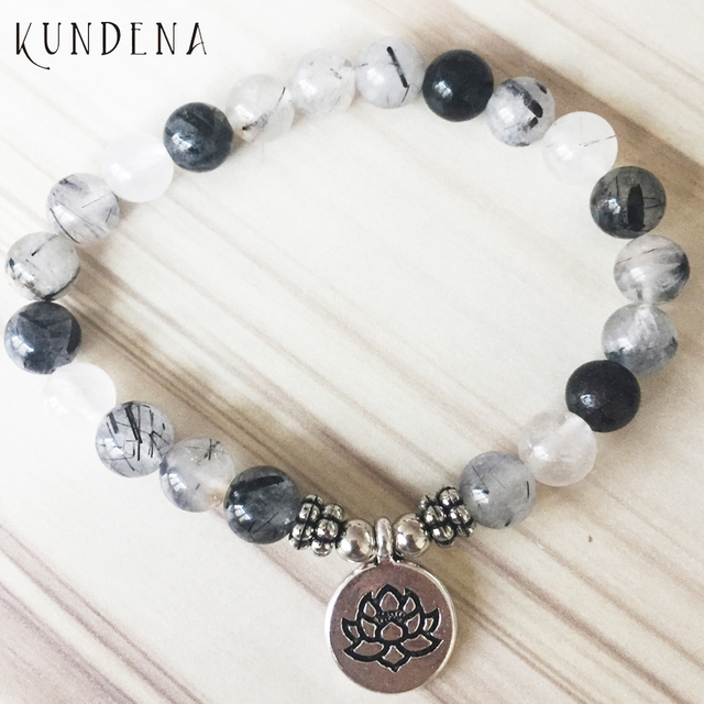 Mala Bracelets For Uni Depression Anxiety Relief Yoga Lotus Bracelet Rutilated Buddha Charm