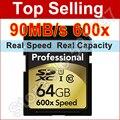 90 MB/S Marca 600x32 GB Tarjeta SD SDHC 64 GB 128 GB SDXC Clase 10 tarjeta de memoria flash para canon nikon videocámara de la cámara réflex digital DV