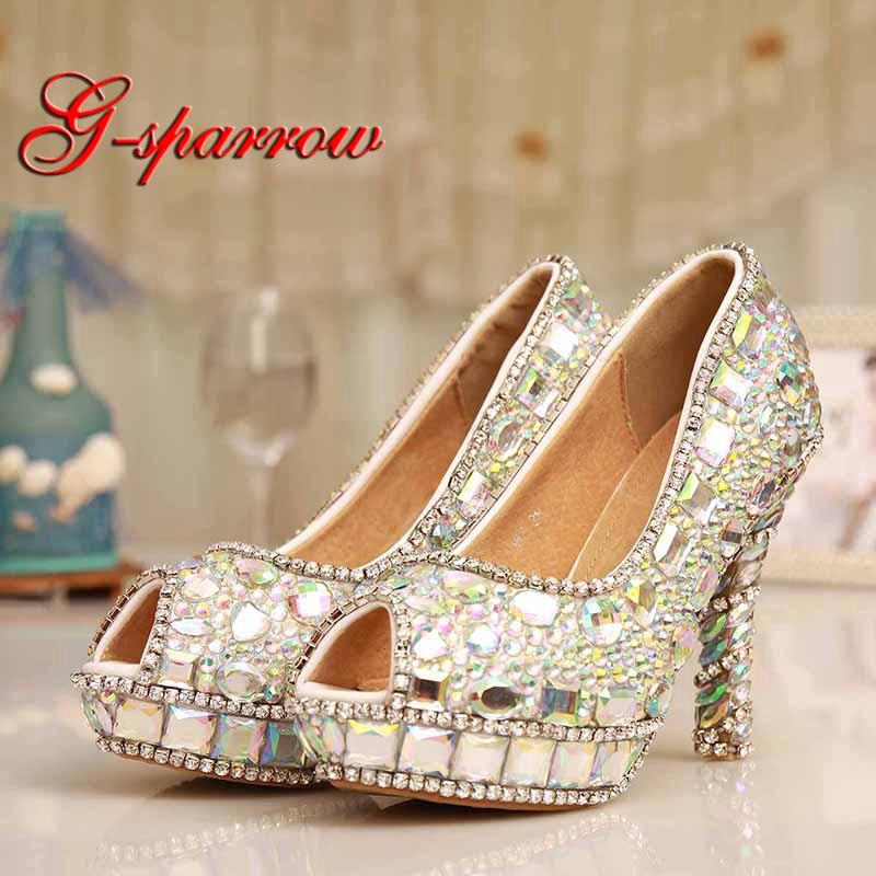 купить 2018 Sparkling Design Party Prom Shoes Handmade AB Crystal Peep Toe Wedding Dress Shoes Homecoming Prom High Heels Size 10